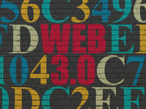 Web development concept: Web 3.0 on wall. Web development concept: Painted red text Web 3.0 on Black Brick wall background with Hexadecimal Code, 3d render stock photography