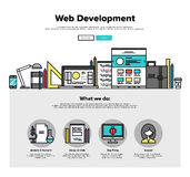 Web development flat line web graphics. One page web design template with thin line icons of web studio services. Website optimization, SEO analysis, bug testing Stock Image