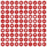 100 web development icons hexagon red. 100 web development icons set in red hexagon isolated vector illustration Stock Photo