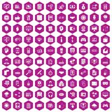 100 web development icons hexagon violet. 100 web development icons set in violet hexagon isolated vector illustration Royalty Free Stock Photography