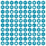 100 web development icons sapphirine violet. 100 web development icons set in sapphirine hexagon isolated vector illustration Stock Images