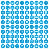 100 web development icons set blue. 100 web development icons set in blue hexagon isolated vector illustration Royalty Free Stock Photos