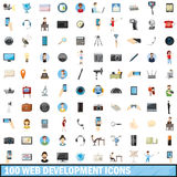 100 web development icons set, cartoon style Stock Image