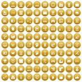 100 web development icons set gold. 100 web development icons set in gold circle isolated on white vector illustration stock illustration