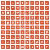 100 web development icons set grunge orange. 100 web development icons set in grunge style orange color isolated on white background vector illustration vector illustration