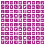 100 web development icons set grunge pink. 100 web development icons set in grunge style pink color isolated on white background vector illustration stock illustration