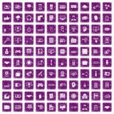 100 web development icons set grunge purple. 100 web development icons set in grunge style purple color isolated on white background vector illustration Stock Photography