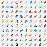 100 web development icons set, isometric 3d style Royalty Free Stock Images