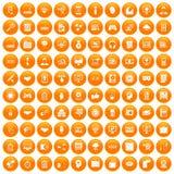100 web development icons set orange. 100 web development icons set in orange circle isolated on white vector illustration royalty free illustration
