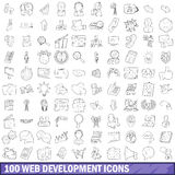 100 web development icons set, outline style. 100 web development icons set in outline style for any design vector illustration Royalty Free Stock Images