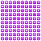 100 web development icons set purple. 100 web development icons set in purple circle isolated on white vector illustration royalty free illustration