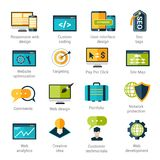 Web Development Icons Set. With responsive design custom coding seo tags isolated vector illustration Stock Photo