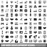 100 web development icons set, simple style. 100 web development icons set in simple style for any design vector illustration Stock Photo