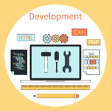 Web development instruments concept Stock Image