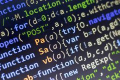 Web development javascript HTML5 code. Abstract information technology modern background. Network hacking Royalty Free Stock Images