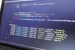 Web development javascript HTML5 code. Detecting browser code. Abstract information technology modern background. Hacking network website. Screen of web royalty free stock image