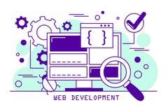 Web development line art banner. Coding software vector illustration