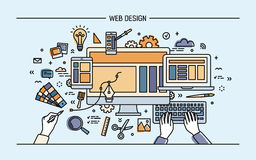 Web development, line art banner. site with responsive design. colorful flat vector illustration. Royalty Free Stock Images
