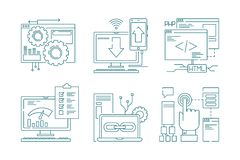 Web development line icons. Seo mobile layout web design creative process code website and app for smartphones vector. Pictures. Illustration of development vector illustration