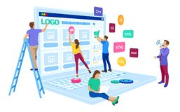 Web development. Project team of engineers for website create. Webpage building. UI UX design. Characters on a concept. Web agency vector illustration
