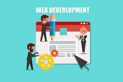 Web Development, SEO Concept Design Cartoon Character flat style Royalty Free Stock Photography