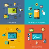 Web Development Set. Web development design concept set with online apps analytic service  vector illustration Stock Photo