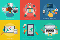 Web and Development. Set of great flat icons with style long shadow icon and use for web, development, concept, marketing and much more Royalty Free Stock Photo