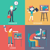 Web development team programming Businessman managerprogrammer coder designer planning сoncept icons set flat vector Royalty Free Stock Photos
