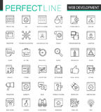 Web development thin line web icons set. SEO Online shopping Outline stroke icons design. Royalty Free Stock Photography