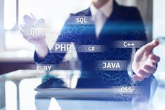Web development tools concept on virtual screen. Programming language and scripts. PHP, SQL, HTML, Java and others. Web development tools concept on virtual stock image