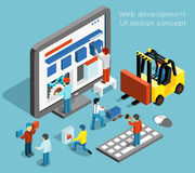 Web development and UI design vector concept in. Web development and UI design concept in flat 3d isometric style. Technology website and computer interface Stock Photos