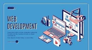 Web development, website construction landing page stock photo