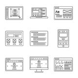 Web development and wireframes line icons set. Collection of outline illustrations for website or logo design template. Icons collection. Outline illustrations Royalty Free Stock Photo