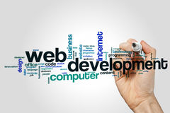 Web development word cloud. Concept on grey background Stock Images