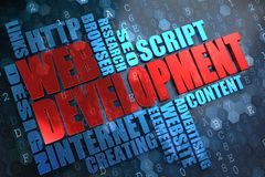 Web Development. Wordcloud Concept. Web Development - Wordcloud Concept. The Word in Red Color, Surrounded by a Cloud of Blue Words royalty free stock photography