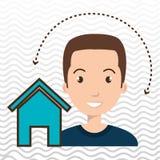 web di Home Page dell'uomo Fotografia Stock