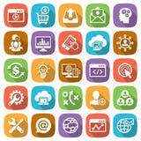 Web di sviluppo e di SEO ed insieme dell'icona del cellulare Immagini Stock Libere da Diritti