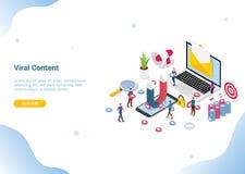 Web di vendita di media del contenuto virale isometrico o modello sociale del sito Web che atterra l'insegna del homepage - vetto royalty illustrazione gratis