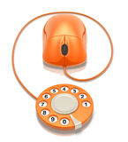 Web dialing. Orange phone dialer with computer mouse (3D rendered illustration Royalty Free Stock Photos