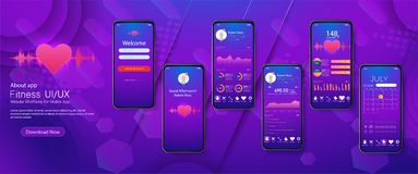 Different UI, UX, GUI screens fitness app. And flat web icons for mobile apps, responsive website including royalty free illustration