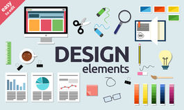 Web, diseño gráfico, elementos de SEO y de la oficina e iconos de los objetos Foto de archivo