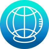 Web do ícone Internet com estilo do esboço isolado no fundo azul do círculo do inclinação ilustração stock