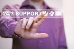 Web do botão do negócio 24 horas de ícone do apoio Imagem de Stock Royalty Free