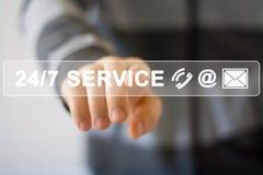 Web do botão do negócio 24 horas de ícone do serviço Imagens de Stock Royalty Free