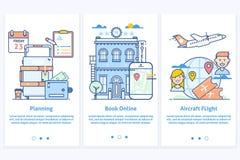 Web do curso infographic Ilustração do Web site Planeie suas férias Molde azul moderno da tela do GUI de UX UI da relação para Fotos de Stock Royalty Free