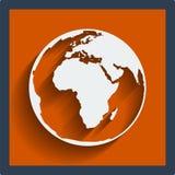 Web do globo do planeta da terra e ícone móvel. Vetor. Fotos de Stock Royalty Free