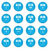 Web document icon blue. Web document icons set in simple style on a white background Stock Photography