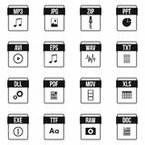 Web document icons set, simple style Royalty Free Stock Photos