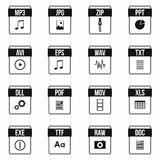 Web document icons set, simple style Stock Photos