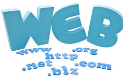 Web domain extension. 3D web letters and 2D domain extension letters stock photography
